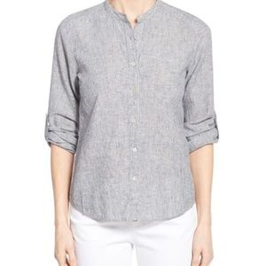 Eileen Fisher Hemp Organic Cotton Mandarin Blouse